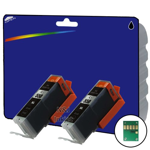, 2 Stück PGI-550 schwarz High Capacity Kompatible Tintenpatronen für Canon Pixma iP7250, iP8750, iX6850, MG5450, MG5550, MG5650, MG6350, MG6450, MG6650, MG7150, MG7550, MX725, MX925