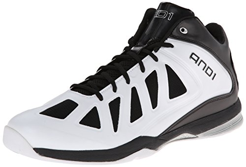 AND 1 Men's Backlash Mid Basketball Shoe,White/Black/Silver,9 M US