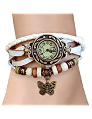 Festival 2014 Special GirlZ! Multilayer Leather Butterfly Bracelet With Watch - White