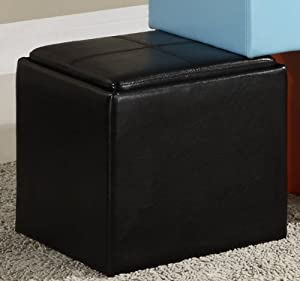 Homelegance 4723BK Homelegance Ladd Storage Ottoman with Stool, Bi-Cast Vinyl, Black