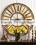 "Extra Large 31"" WHITE GOLD Train Station Wall Clock Wood Iron Luxe"