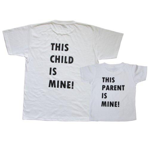 Tシャツ おもしろ ペアルック メンズ キッズ 2枚セット 半袖 バックプリント デザインB1-B2 (メンズLサイズ・キッズ100)