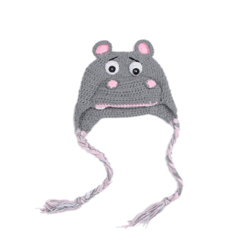 Double Baby Knit Crochet Cartoon Wolf Hat Photo Prop Grey 0-24 Months