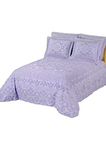 Luxurious Chenille Bedspread Collection - Full Bedspread, Color Lavender