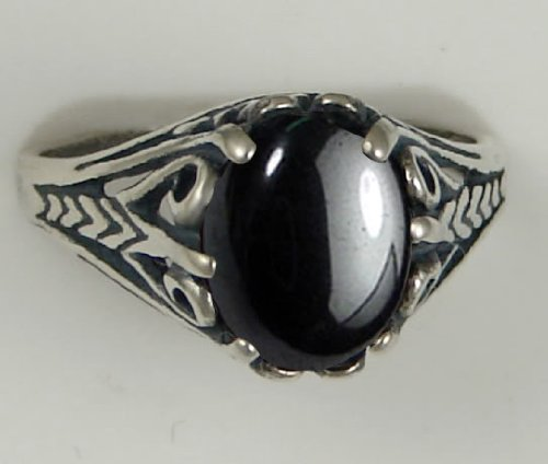 A Gorgeous Sterling Silver Filigree Ring Featuring a Beautiful Hematite Gemstone