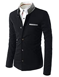 TheLees (GD135) Mens Slim Fit 2 Tone China Collar Cardigan Black US S(Tag size XL)