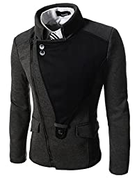 TheLees (DJK21) Mens Casual Rider Style Stretchy Slim Zipper Jacket Jumper Charcoal US M(Tag size XL)
