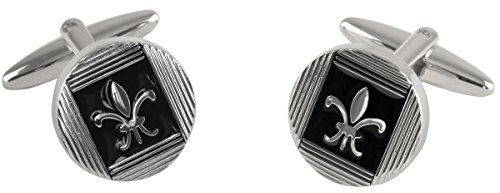 argent-noir-cercle-epoxy-fleur-de-lys-email-boutons-de-manchette-de-david-van-hagen