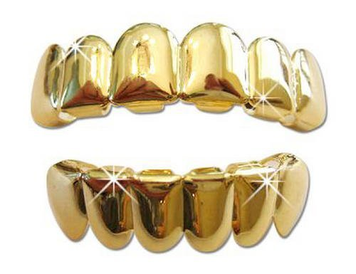 Hip Hop 14K Gold Plated Removeable Mouth Grillz Set (Top & Bottom)...