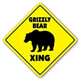 GRIZZLY BEAR CROSSING Sign xing gift novelty black brown kodiak alaska