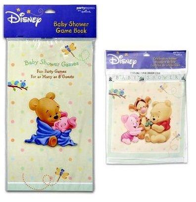 2-Piece Winnie The Pooh Baby Shower Set: Winnie Pooh Baby Shower Game Book (For 8) And Winnie Pooh Baby Shower Banner (8') - By Hallmark
