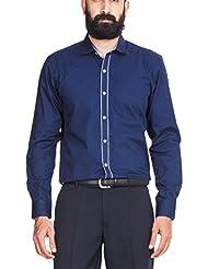 Zovi Men's Cotton Regular Fit Navy Blue Solid Formal Shirt - Full Sleeves (10329805101)