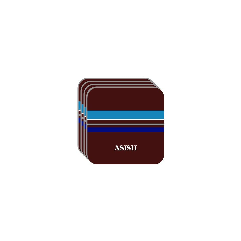 Personal Name Gift   ASISH Set of 4 Mini Mousepad Coasters (blue design)