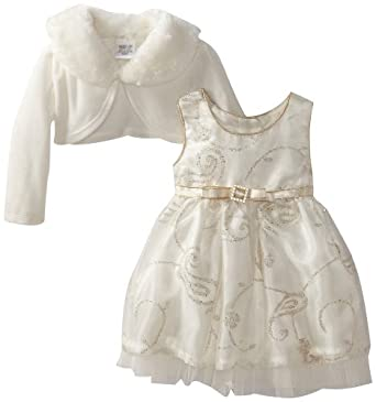 Youngland Baby-Girls Infant Caviar Dress with Fur Collar, Ivory/Gold, 12 Months