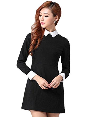 Goldensat Women Lapel Zip Back Long Sleeve Peter Pan Collar Dress M Black