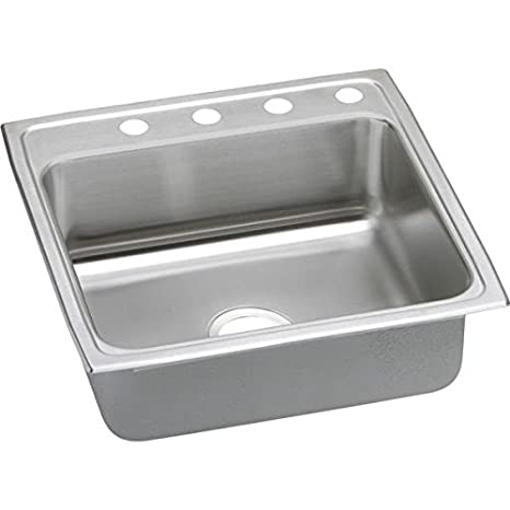 Elkay PSR22223 3-Hole Gourmet 22-Inch x 22-Inch Single Basin Drop-Inch Stainless Steel Kitchen Sink