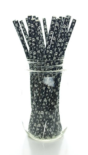 Skeleton Skulls Straws (25 Pack), Halloween Straws - Skull & Crossbones Pattern Paper Straws, Black & White Pirate Party Supplies, Halloween Drinking Straws (Coca Cola Cake Pan compare prices)