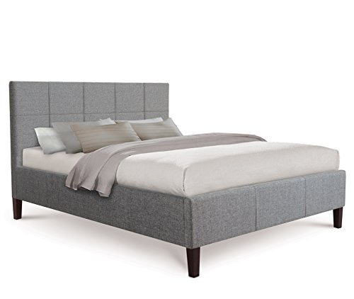 Good Otto Garrison Opulent Tufted Fabric Bed King Size Grey with Fabric