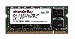 Komputerbay 1GB DDR SODIMM (200 pin) 333Mhz DDR333 PC2700 LAPTOP MEMORY