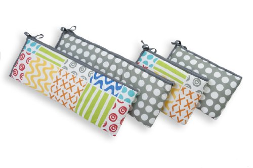 Sumersault 4 Piece Bumper Set, Doodles Bright - 1