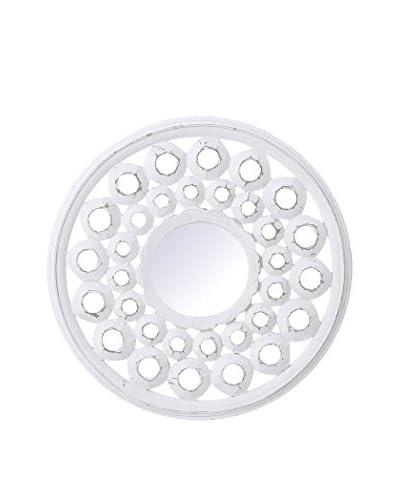 Oriental Espejo de Pared Efecto Rozado Blanco