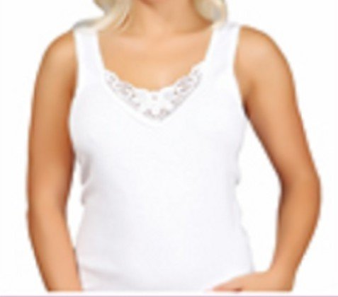 4 Stück Damen Unterhemden, Vollachselhemd mit schöner Spitze , 100% feinste gekämmte Baumwolle, -ÖKO Tex Standard – kaufen