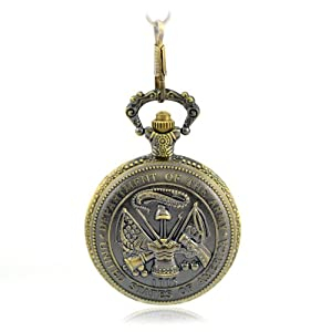 Creddeal Us Department of Army Pin Bronze Antique Pocket Watch Brass Tone + Chain with Gift Box