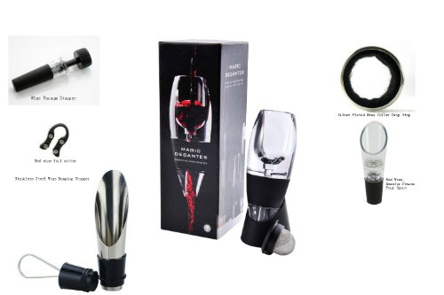 Magic Decanter Red Wine Aerator Base (Filter and Bag included), Five kinds of Red wine tools?random selection? for presents, Hot Red Wine Aerator with Wine Dumping Stopper, Hot Red Wine Aerator with Vacuum Stopper, Hot Red Wine Aerator with foil cutter, H