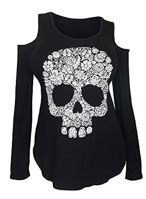 eVogues Plus Size Cold Shoulder Long Sleeve Skull Top Black