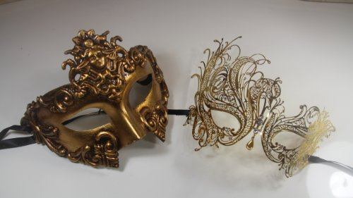 New! His & Hers Phantom Masquerade Masks - Bestselling Black Half Mask Gold