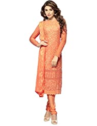 FABBOOM Outstanding Designs Orange Dress Material