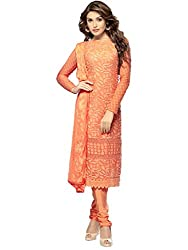Meet Enterprise Outstanding Designs Orange Dress Material