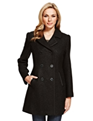 M&S Collection Basket Weave Textured Coat with Wool