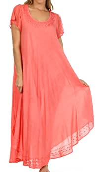 Sakkas Everyday Essentials Cap Sleeve Caftan Dress / Cover Up
