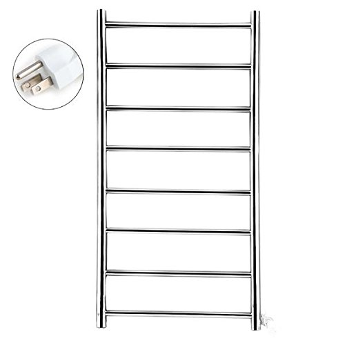 Vivreal® Electrical Towel Heater Warmer Rack Holder Mirror Polished Drying 8 Bar Stainless Steel 304 Bathroom