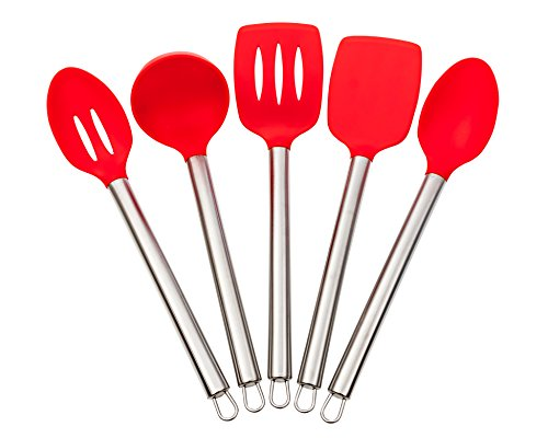 Silicone Kitchen Utensil Set - 5 Piece Premium Stainless Steel Handles. (Red Kitchen Utensils compare prices)