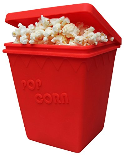 Microwave Popcorn Popper by MrLifeHack, 100% BPA FREE Best Silicone Popcorn Maker, Makes 8 Cups of Healthy Hot Air Popped Popcorn in 2 minutes or Less, Dishwasher Safe Red