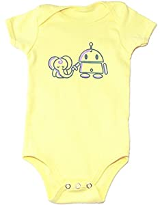 Jessy & Jack Gender-Neutral Baby Elephant and Robot Onesie 3-6M Lemon