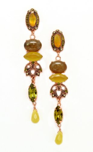 'Genesis' Collection 24K Rose Gold Plated Fashioanble Earrings by Israeli Amaro Jewelry Studio Set with Labradorite, Citrine, Striped Jasper, Taiwan Jadeite, Yellow Turquoise, Cat's Eye and Swarovski Crystals