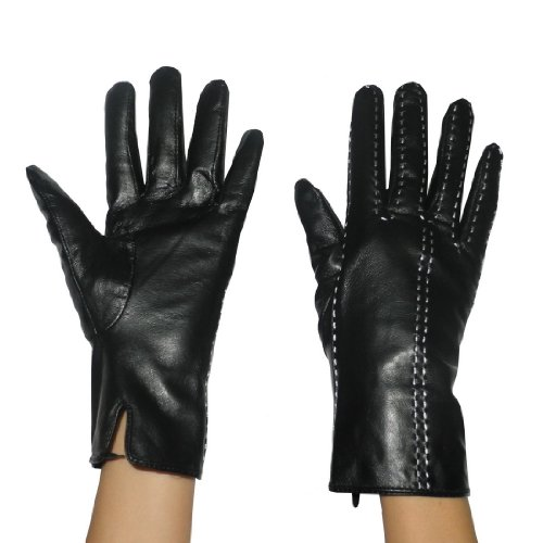 Womens Warm & Weatherproof Insulated Winter Leather Gloves with Interior Lining