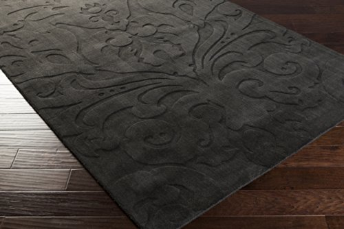 5' x 8' Sculpture Plush High/Low Pile Designer Hand Loomed Rectangle 100% Wool Rug Pewter Pewter