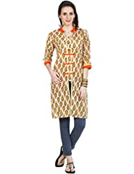 Zovi Women's Cotton Orange Printed Kurti With Slit Opening At Front (10591519201)