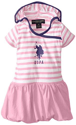 U.S. Polo Assn. Little Girls' Dress With Stripe Hooded Top And Bubble Hem Skirt, Sugar Pink, 2T