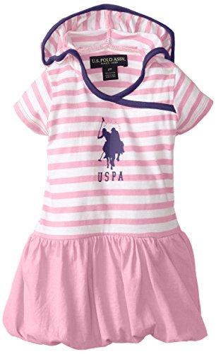 U.S. Polo Assn. Little Girls' Dress With Stripe Hooded Top And Bubble Hem Skirt, Sugar Pink, 2T