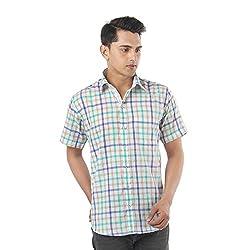 ZIDO Green Blended Men's Checks Shirts PCFLXHS1322_Green_42
