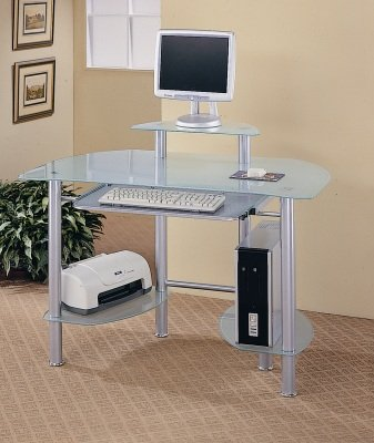 Home Office Desk With Frosted Glass Shelving