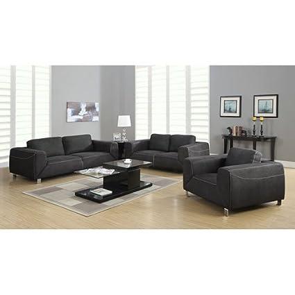 Monarch Specialties Charcoal Grey/Light Grey Contrast Micro-Suede Sofa