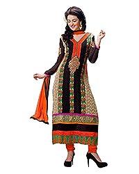 GoAavaran Women's Faux Georgette Unstitched Salwar Suit