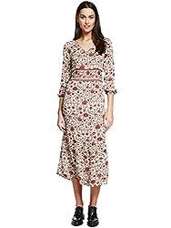 KASHANA Rayon Crepe Brown Floral Printed Summer Tunic Kurti Dress for Women Girls Ladies