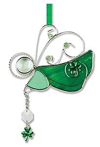 Irish Angel Suncatcher Stained Glass Ornament with Shamrock